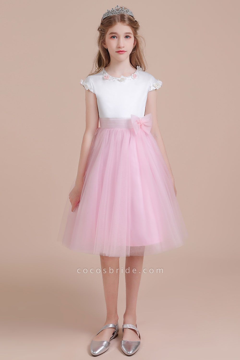 Cap Sleeve Tulle Knee Length Flower Girl Dress