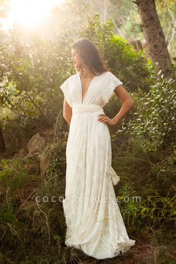 Open Back V-neck Lace Floor Length Wedding Dress