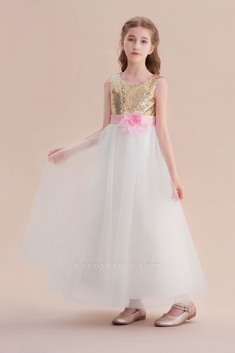 Sequins Tulle High-waisted A-line Flower Girl Dress