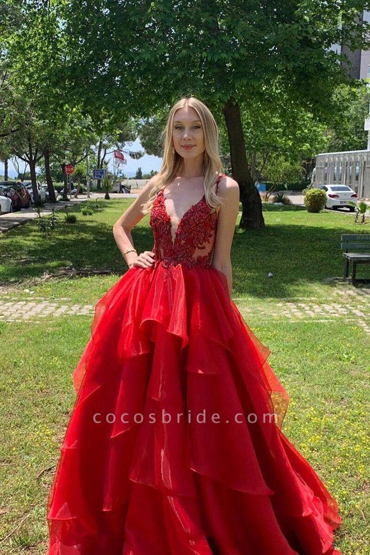 Excellent V-neck Organza A-line Prom Dress
