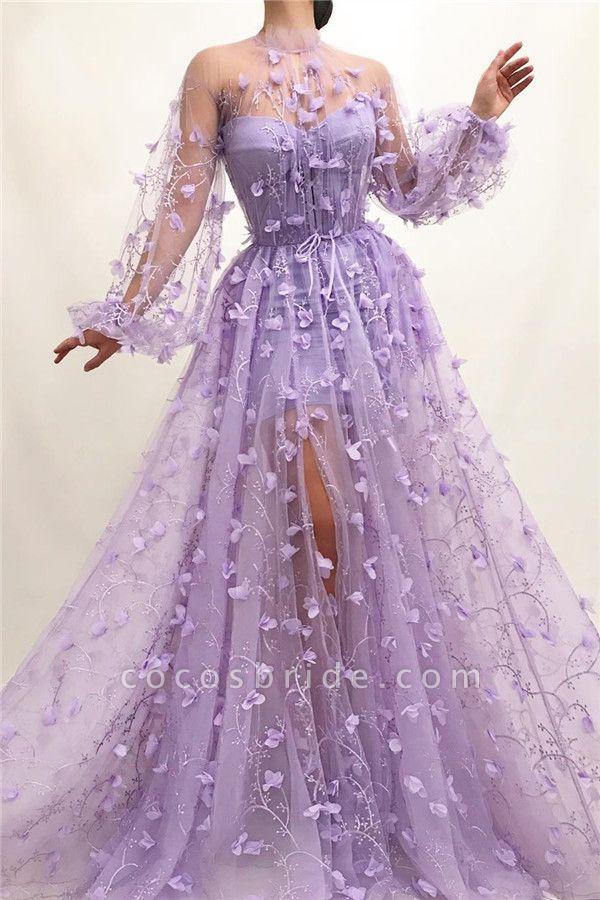 Elegant High Neck Tulle A-line Prom Dress
