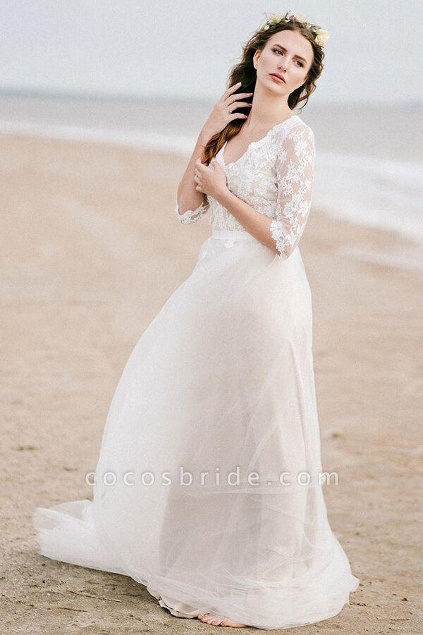 Modest V-neck Lace A-line Tulle Wedding Dress