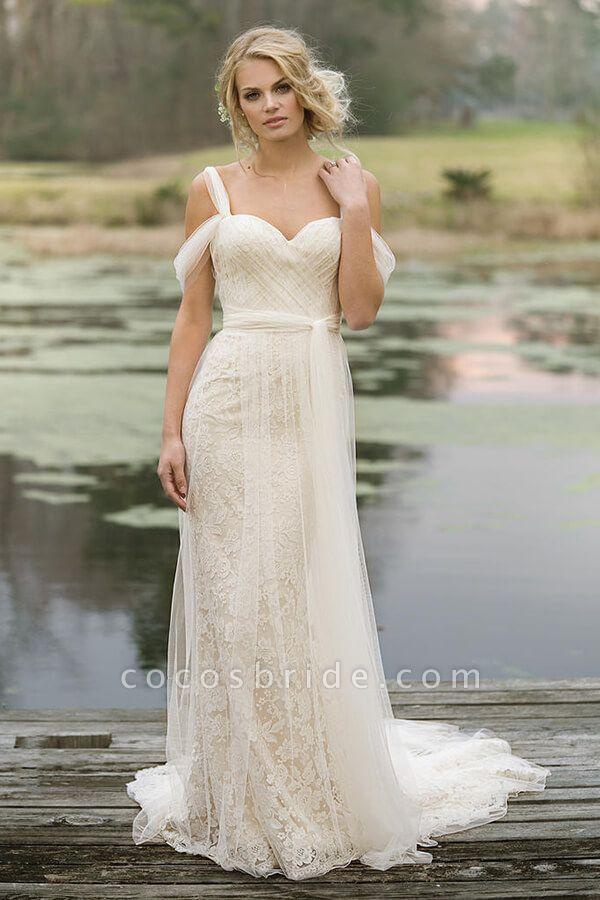 Best Cold-shoulder Lace Tulle Sheath Wedding Dress