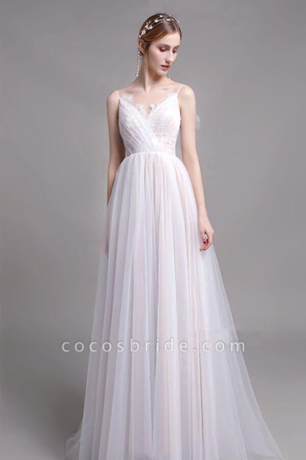 Graceful Spaghetti Strap Lace Tulle Wedding Dress