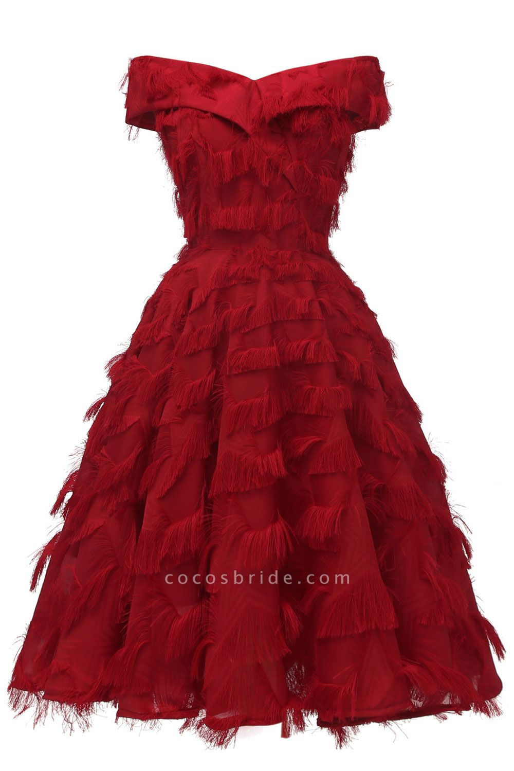Sexy off-the-shoulder Artifical Feather Princess Vintage Homecoming Dresses | Womens Retro A-line Pink Cocktail Dress
