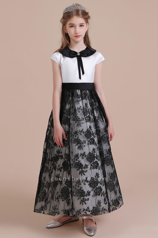 Cute Lace Cap Sleeve A-line Flower Girl Dress