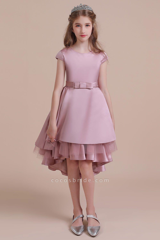 Cap Sleeve A-line Satin High-low Flower Girl Dress