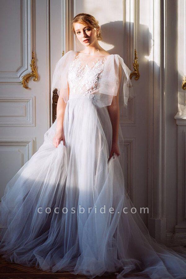 Amazing Tulle Chapel Train Wedding Dress