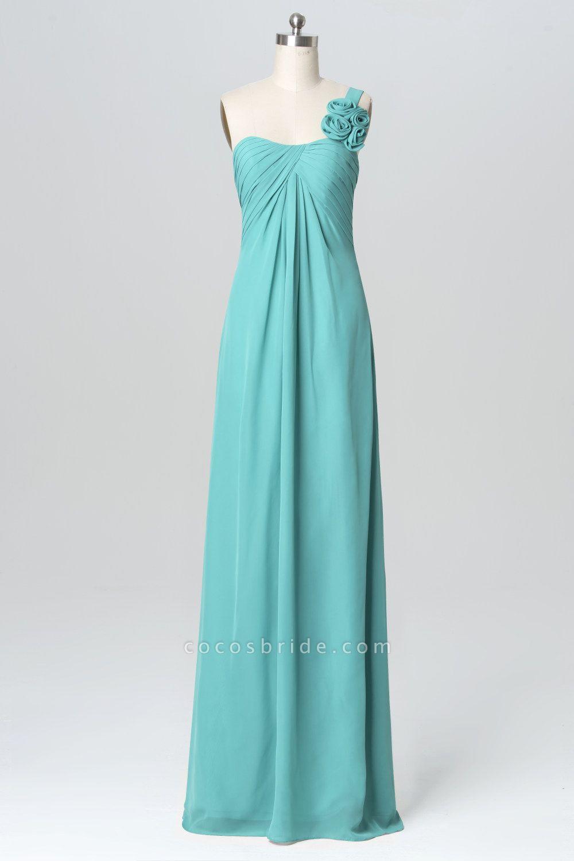 BM1137 One Shoulder Sweetheart Floral Chiffon Bridesmaid Dress