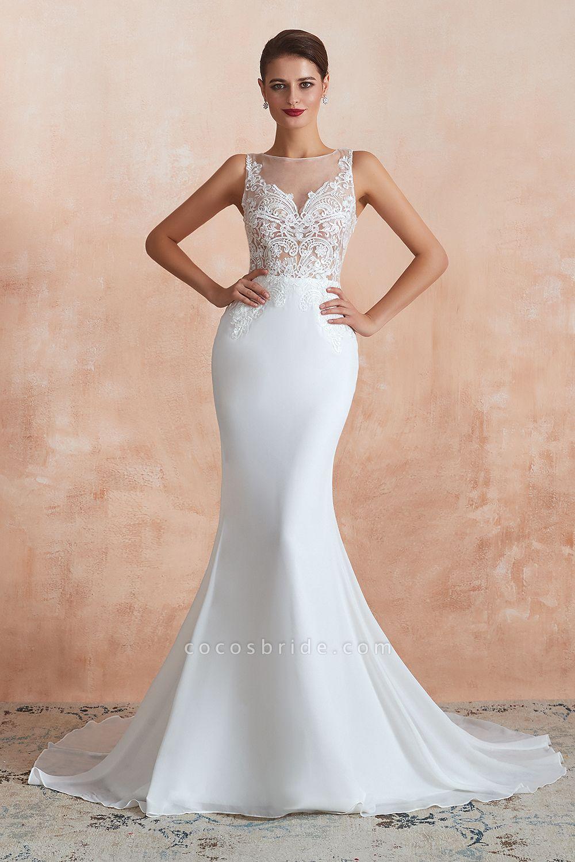 Chic Applique Satin Tulle Mermaid Wedding Dress