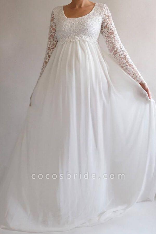 Elegant Long Sleeve Chiffon Lace Wedding Dress
