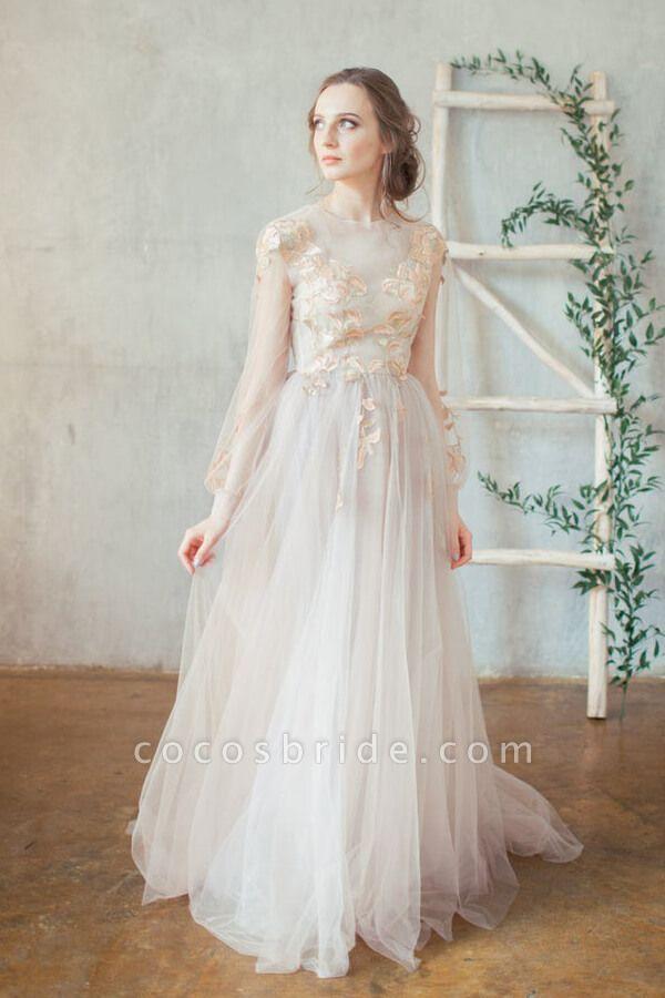 Elegant Long Sleeve Appliques Tulle Wedding Dress
