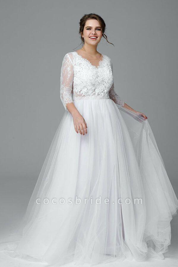 Plus Size Elegant Lace Tulle A-line Wedding Dress