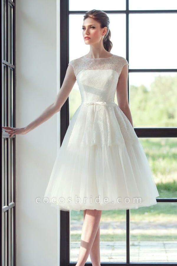 Graceful Lace Tulle Knee Length Wedding Dress