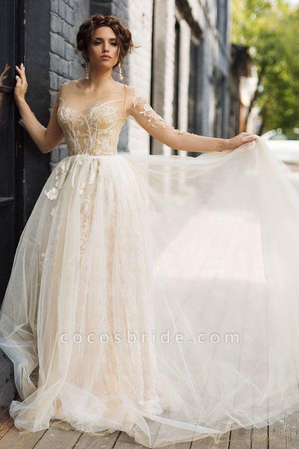 Elegant Long Sleeve Tulle Appliques Wedding Dress