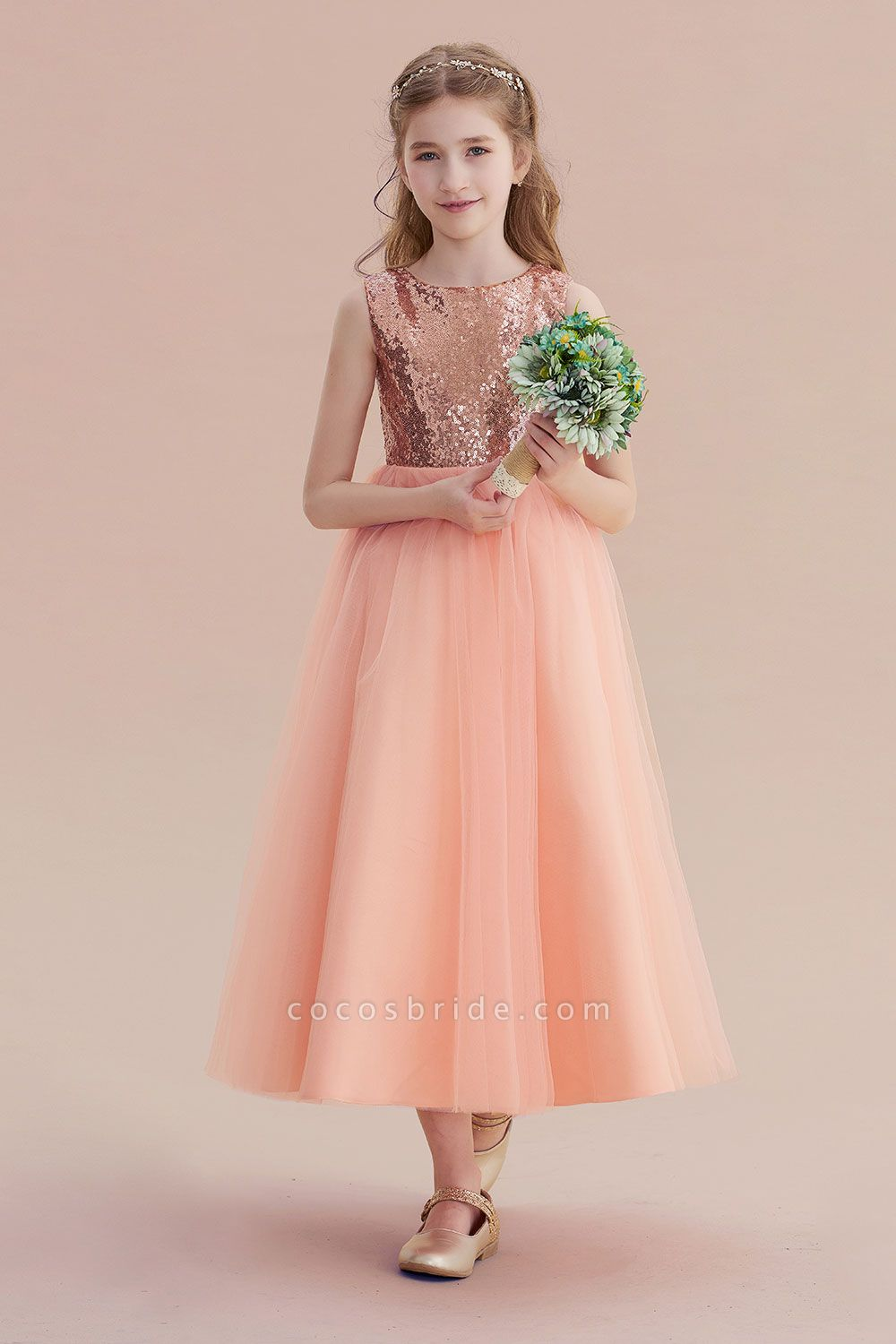Graceful Sequins Tulle A-line Flower Girl Dress