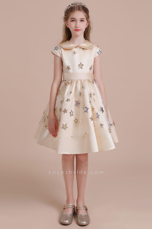 Cap Sleeve Star Sequins Tulle Flower Girl Dress