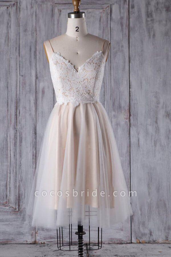Spaghetti Strap Lace Tulle Short Wedding Dress