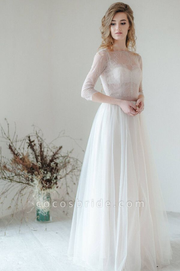 Amazing Sheer Lace Tulle Floor Length Wedding Dress