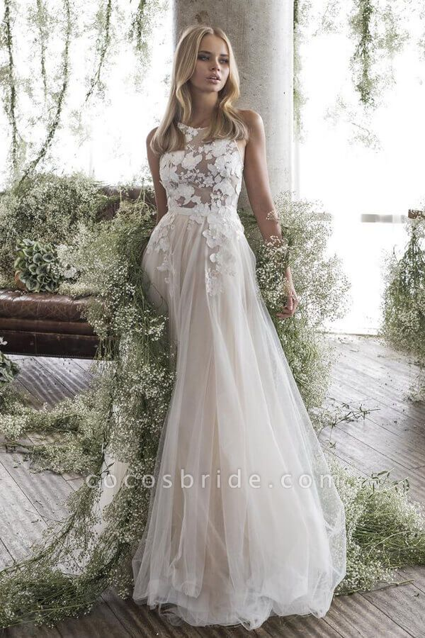 Floor Length Appliques Tulle A-line Wedding Dress