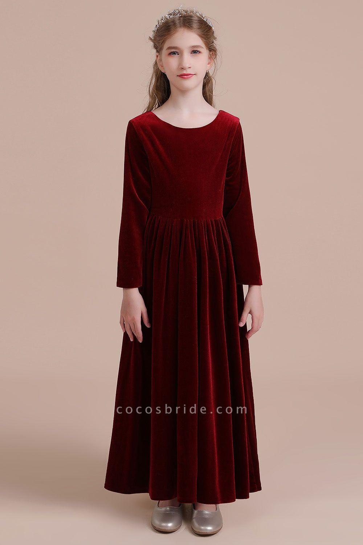 Long Sleeve A-line Velvet Flower Girl Dress