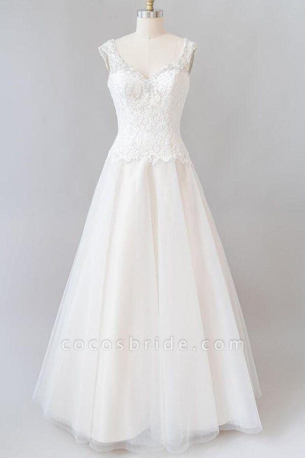 Elegant Open Back Lace Tulle A-line Wedding Dress