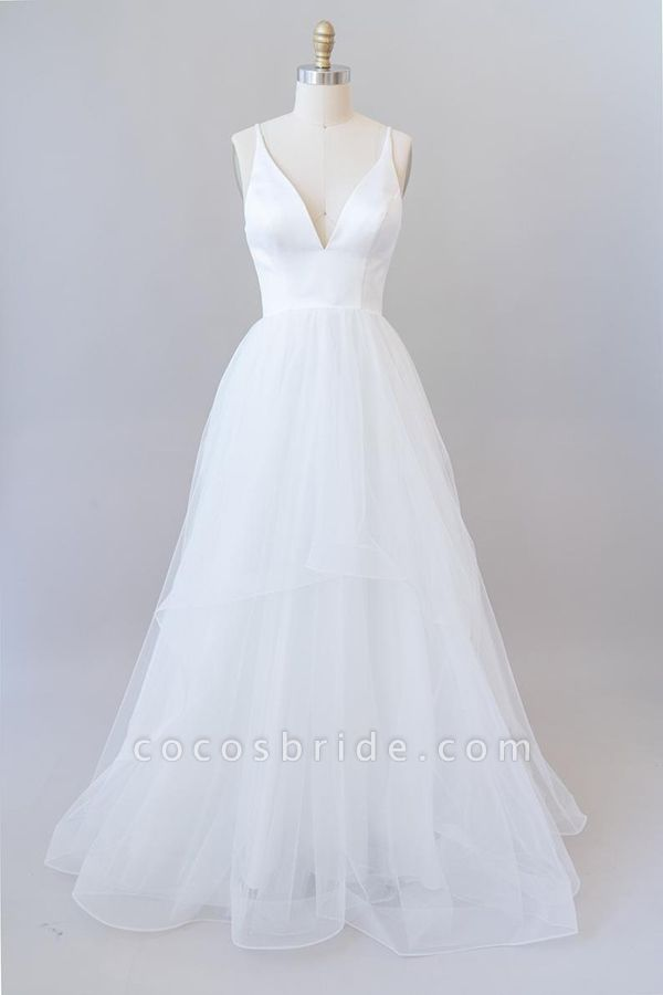 Beautiful V-neck Tulle A-line Wedding Dress