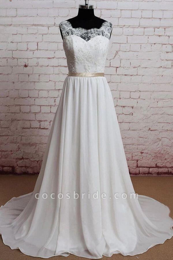 Elegant Lace Chiffon A-line Wedding Dress