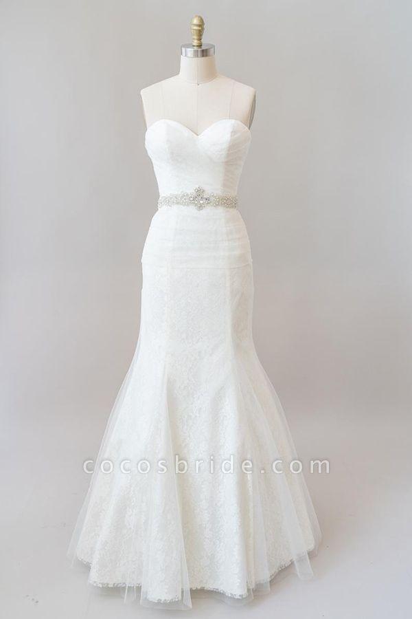 Awesome Ruffle Strapless Lace Sheath Wedding Dress