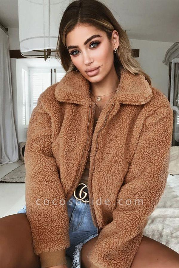 Daily Basic Fashion Winter Regular Faux Fur Coats