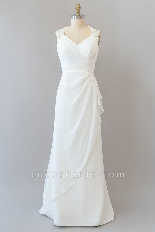Awesome Ruffle Lace Chiffon Sheath Wedding Dress