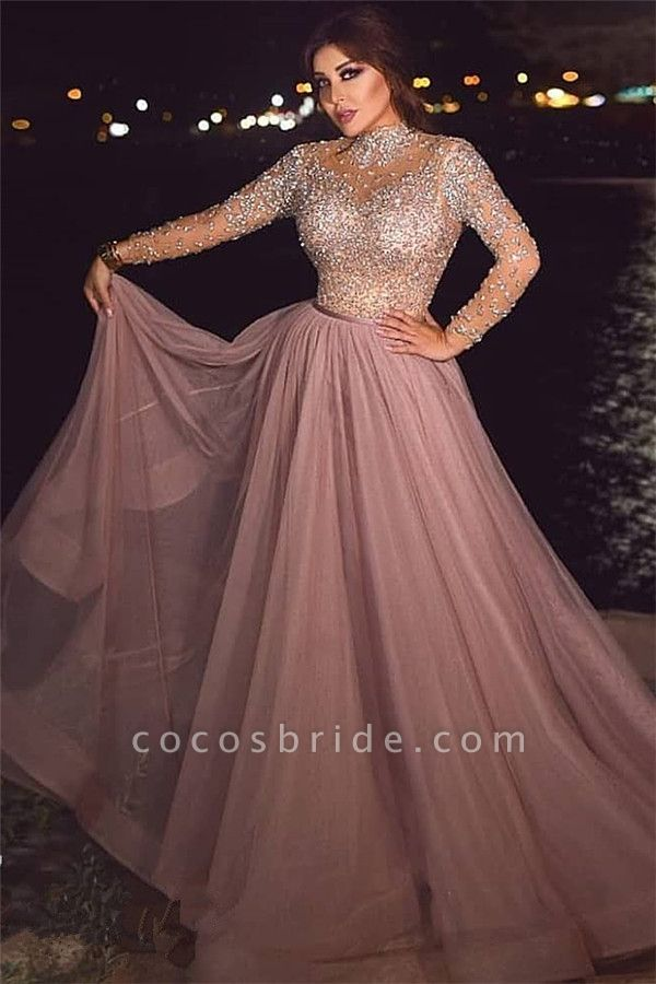 Beading A-line Tulle High-neck Evening Dresses