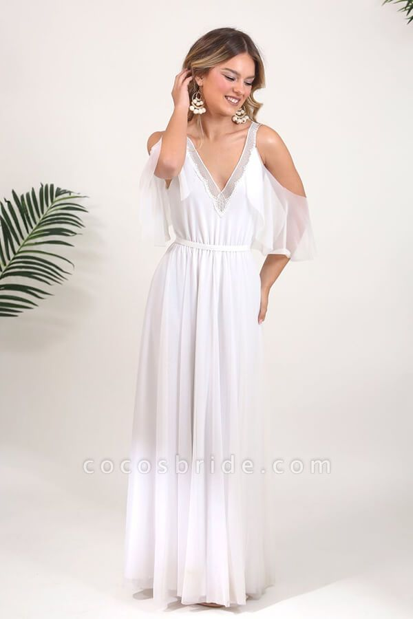 V-neck Cold Shoulder Chiffon A-line Wedding Dress