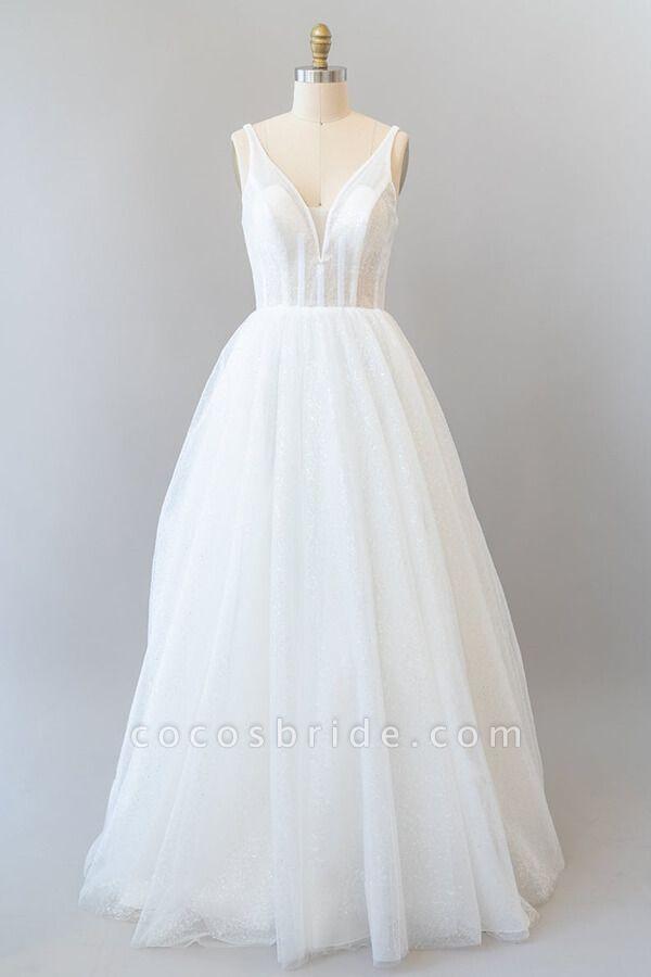 Open Back Sequins Tulle A-line Wedding Dress