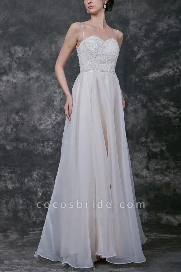Open Back Spaghetti Strap Organza Wedding Dress