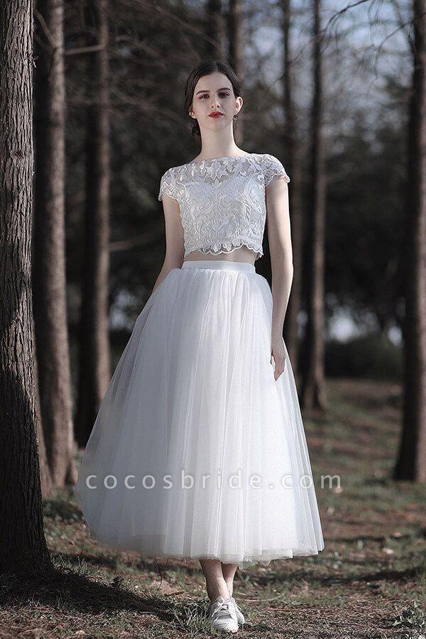 Latest Short Sleeve A-line Tulle Wedding Dress