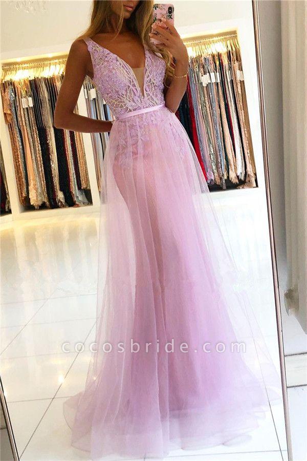 Straps A-line Lace V-neck Evening Dresses