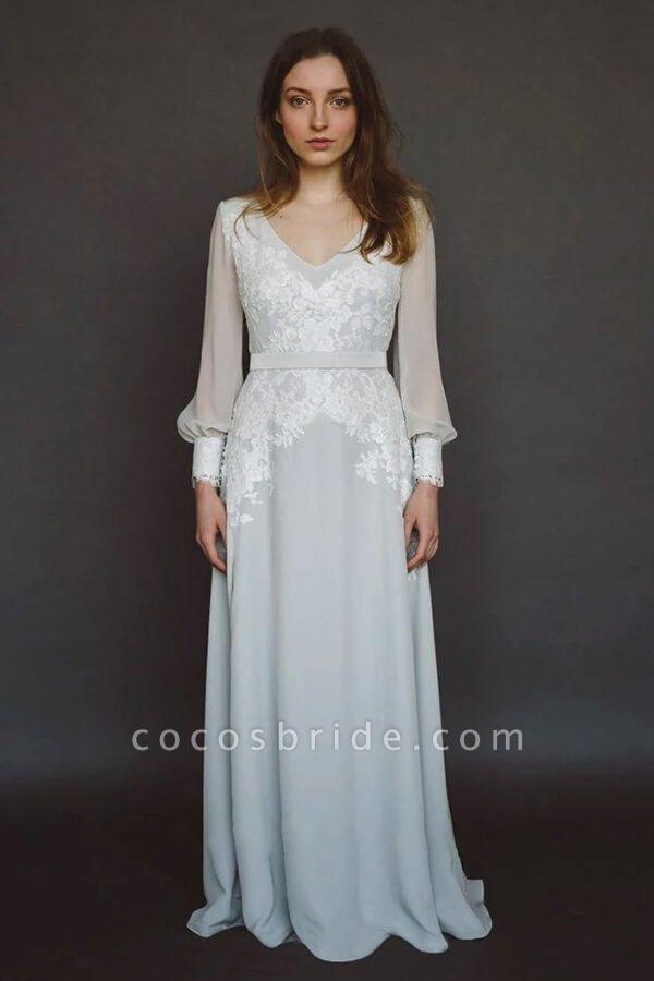 V-neck Long Sleeve Appliques Chiffon Wedding Dress