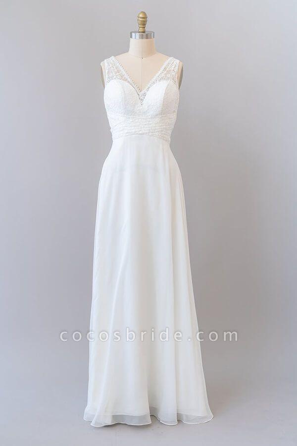 Empire V-neck Lace Chiffon A-line Wedding Dress