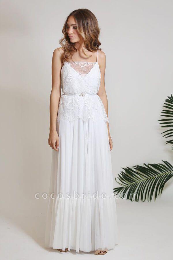 Spaghetti Strap Lace Chiffon Sheath Wedding Dress