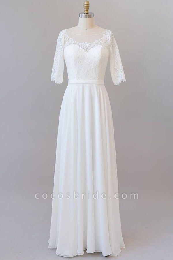 Graceful Lace Chiffon Floor Length Wedding Dress