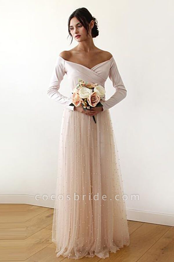 Long Sleeve Off The Shoulder Tulle Wedding Dress