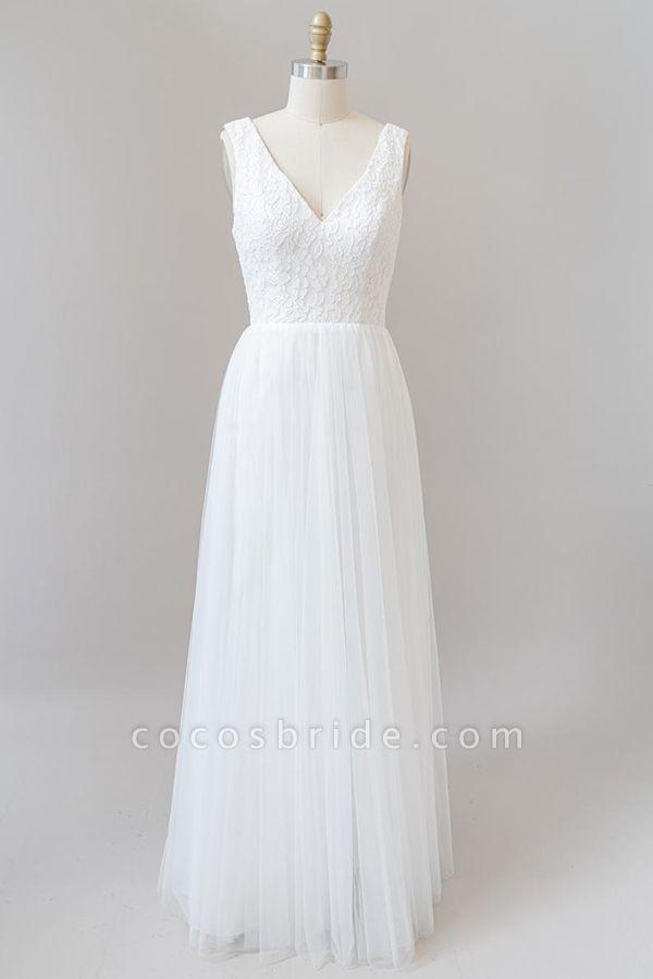 Open Back V-neck Lace Tulle A-line Wedding Dress