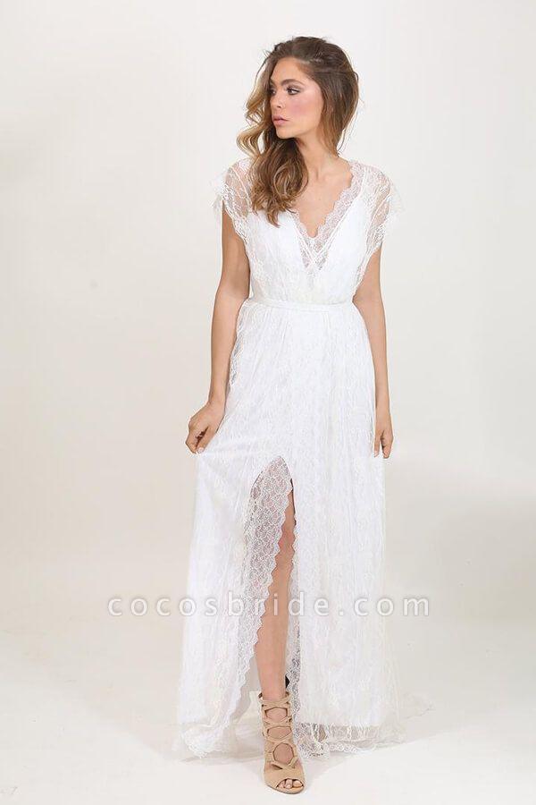 Front Slit V-neck Short Sleeve Lace Wedding Dress