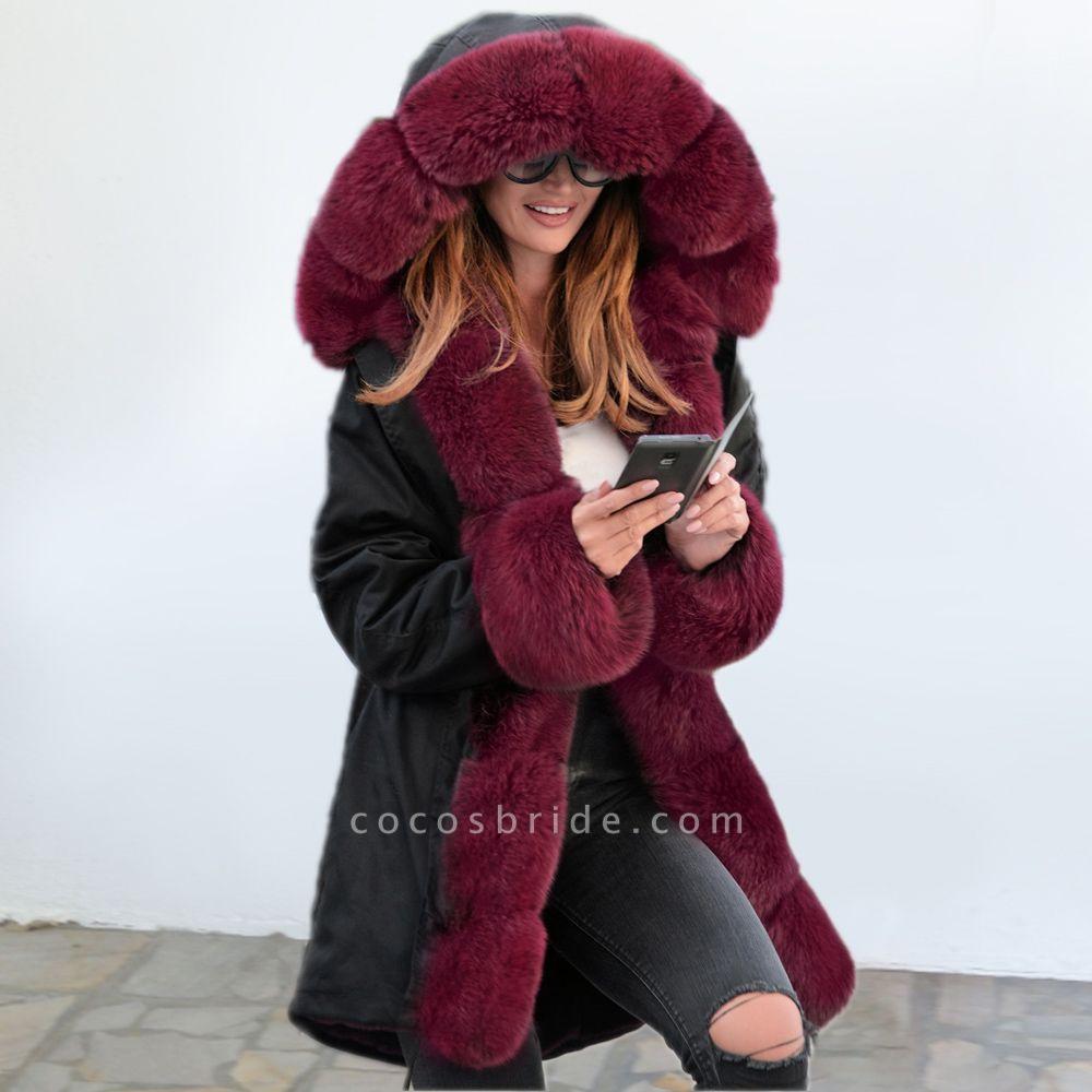 Winter Faux Fur-trimmed Long-length Overcoat