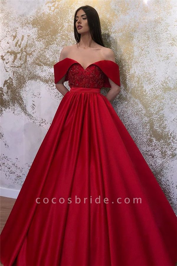 Lace Off-the-shoulder A-line Sweetheart Formal Dresses