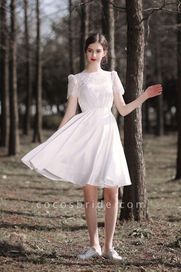 Short Sleeve Lace A-line Short Wedding Dress