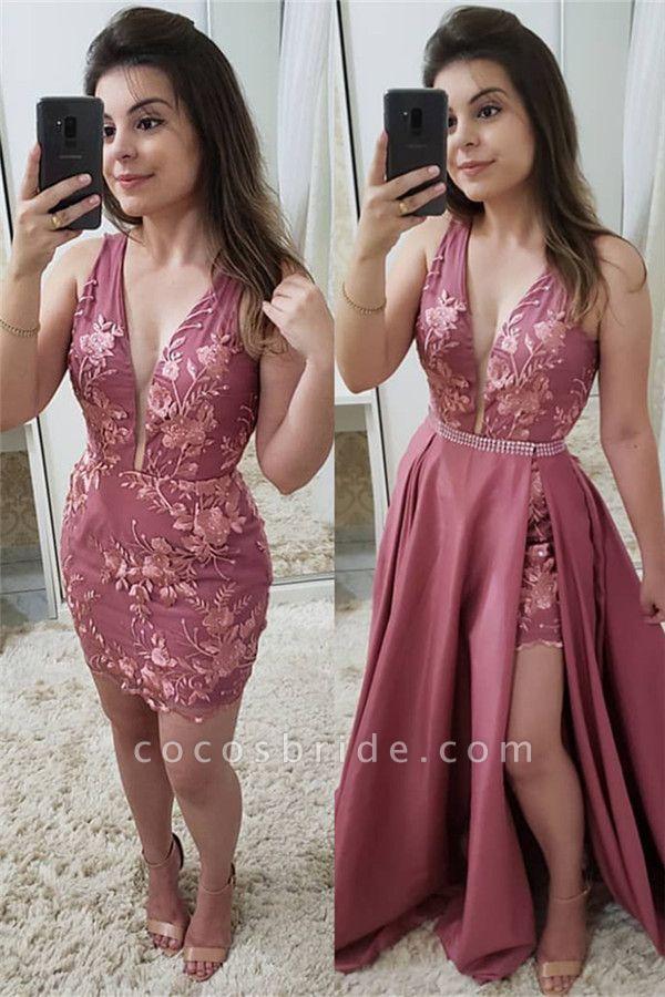 Appliques A-line V-neck Detachable Prom Dresses|Straps Floor Length Gowns