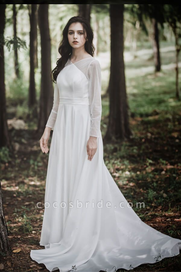 Elegant Long Sleeve Satin A-line Wedding Dress