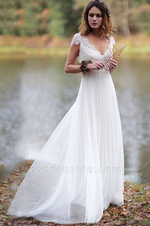Graceful Cap Sleeve V-neck Lace Tulle Wedding Dress